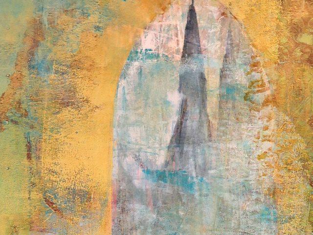 Udsnit af maleri / acryl , farveblyant og oliekridt på papir og plade